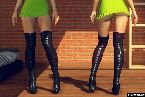 Muslo de tacones altos y vestidos cortos en juegos de sexo en vivo