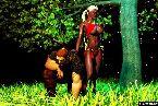 Chica caliente joven elfo en bikini rojo y duro guerrero